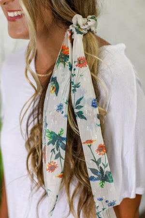 Sheer Floral Hair Scarf: White - ShopSpoiled