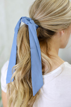 Solid Hair Scarf: Dusty Blue - ShopSpoiled
