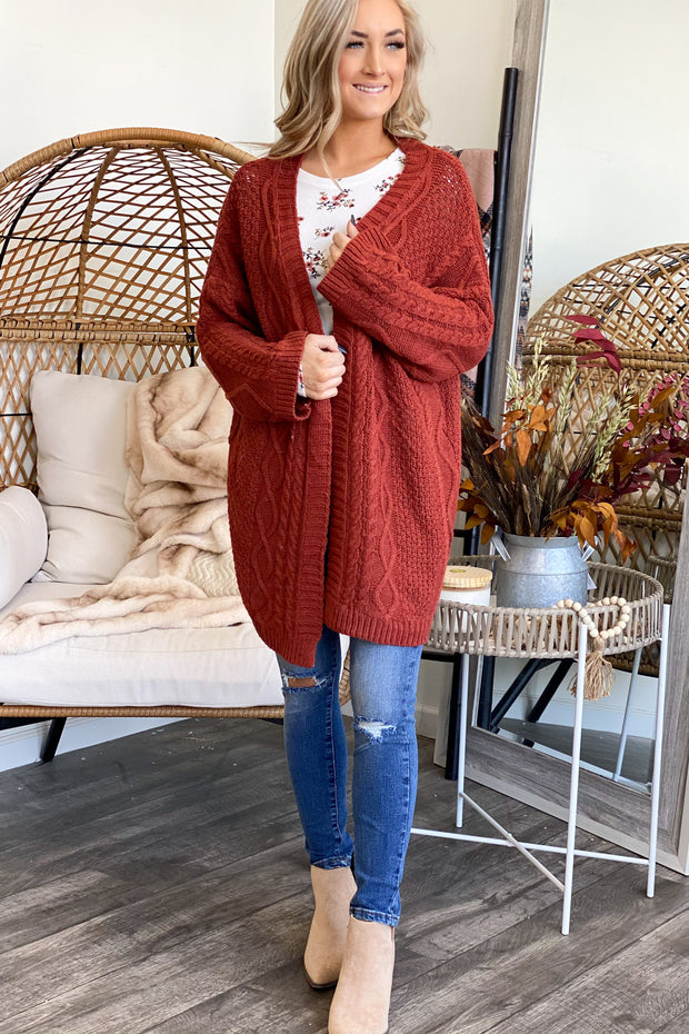 Morning Coffee Cardigan: Rust - ShopSpoiled