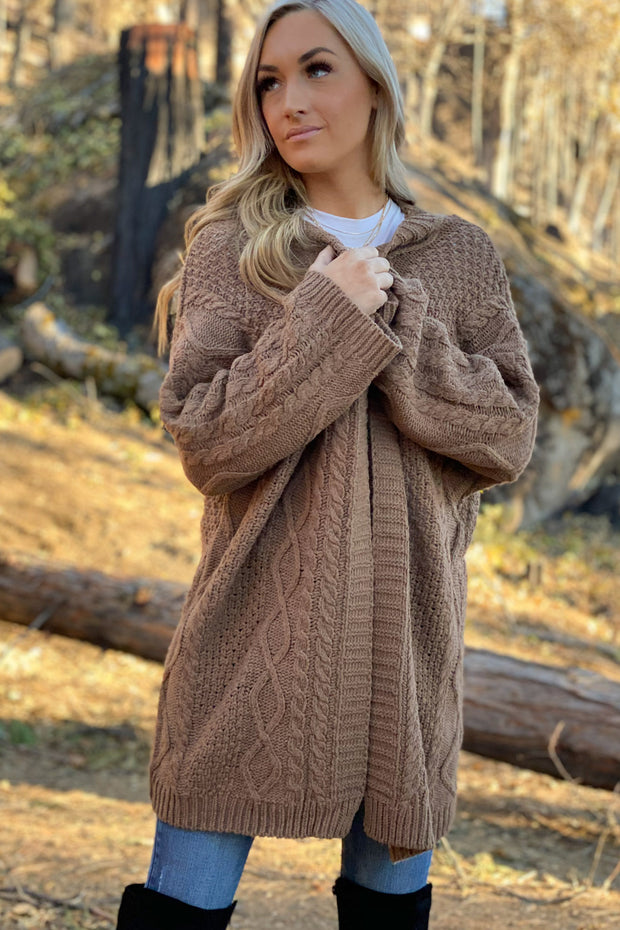 Morning Coffee Cardigan: Brown - ShopSpoiled