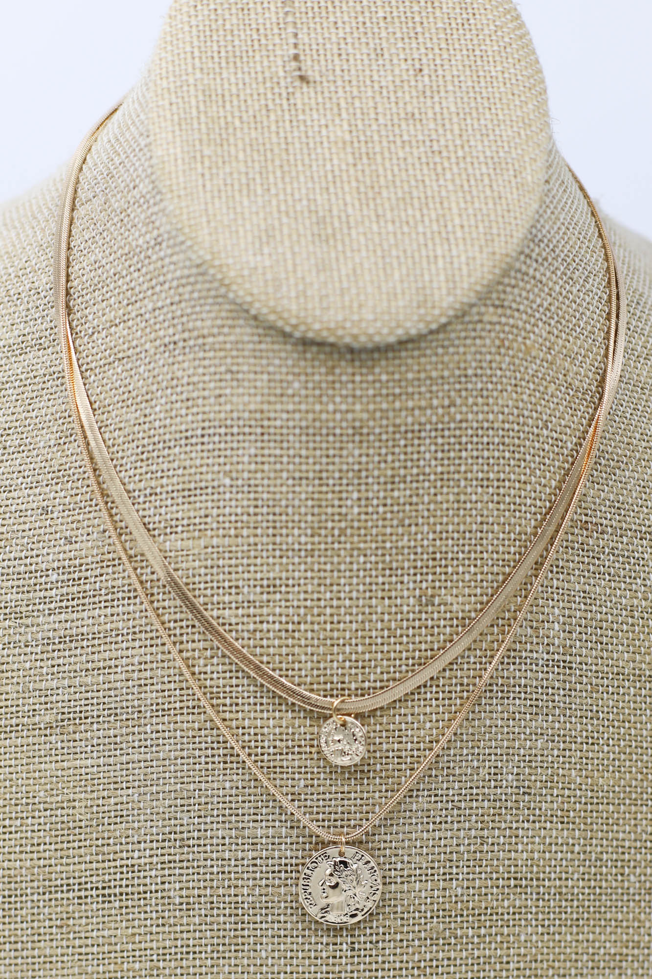 Spartan Gold Layered Coin Necklace