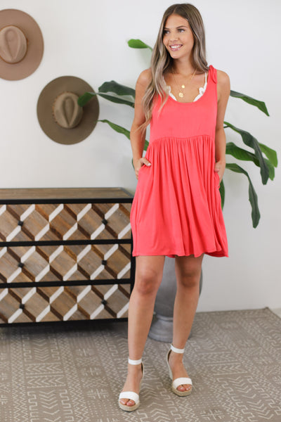 Waves And Kisses Dress: Coral - ShopSpoiled