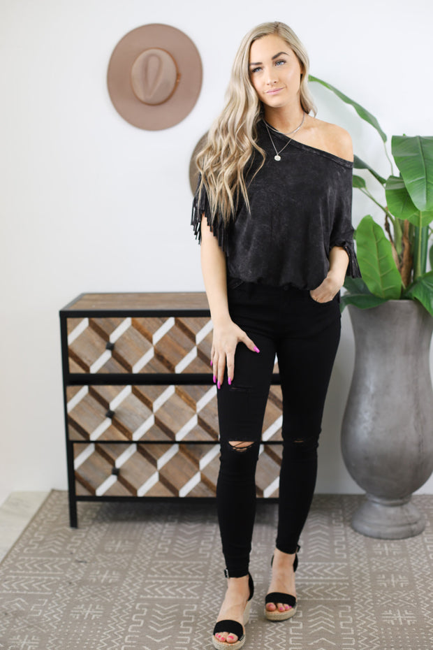 Fringe It Up Top: Black - ShopSpoiled