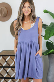 Waves And Kisses Dress: Blue - ShopSpoiled