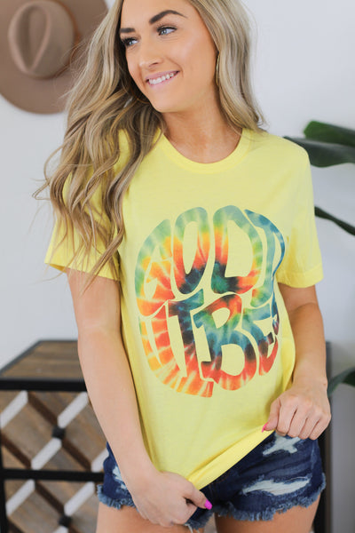 Good Vibes & Tie Dye tee: Yellow - Shop Spoiled Boutique