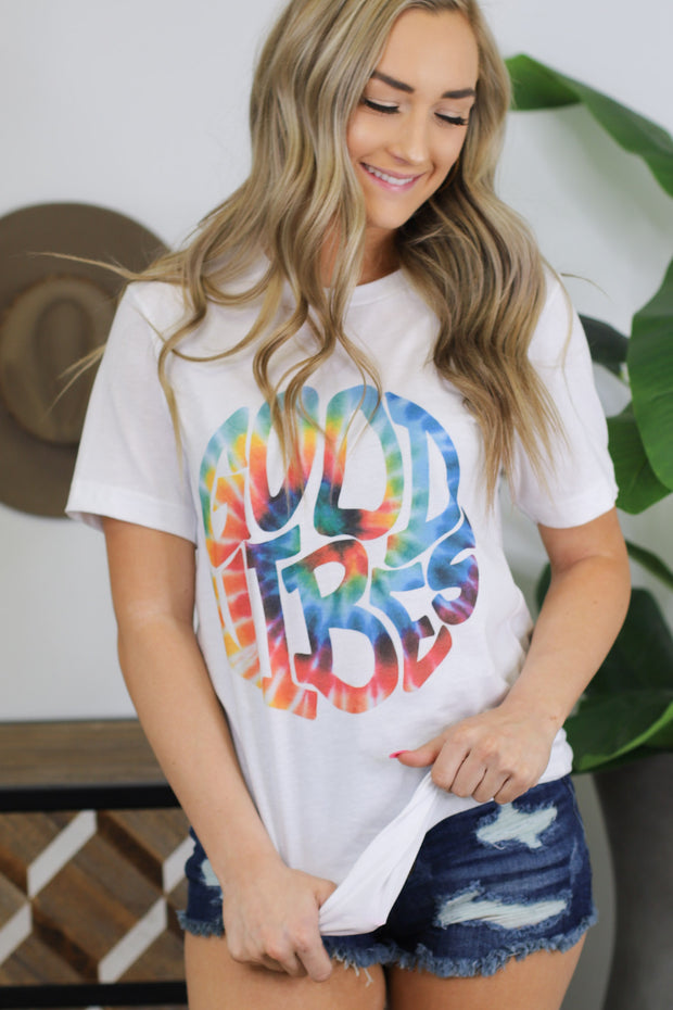 Good Vibes & Tie Dye tee: White - Shop Spoiled Boutique