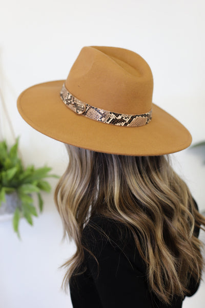 Boho Babe Snake Felt Hat: Tan - ShopSpoiled