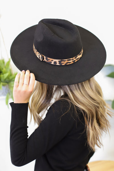 Boho Babe Leopard Felt Hat: Black - ShopSpoiled