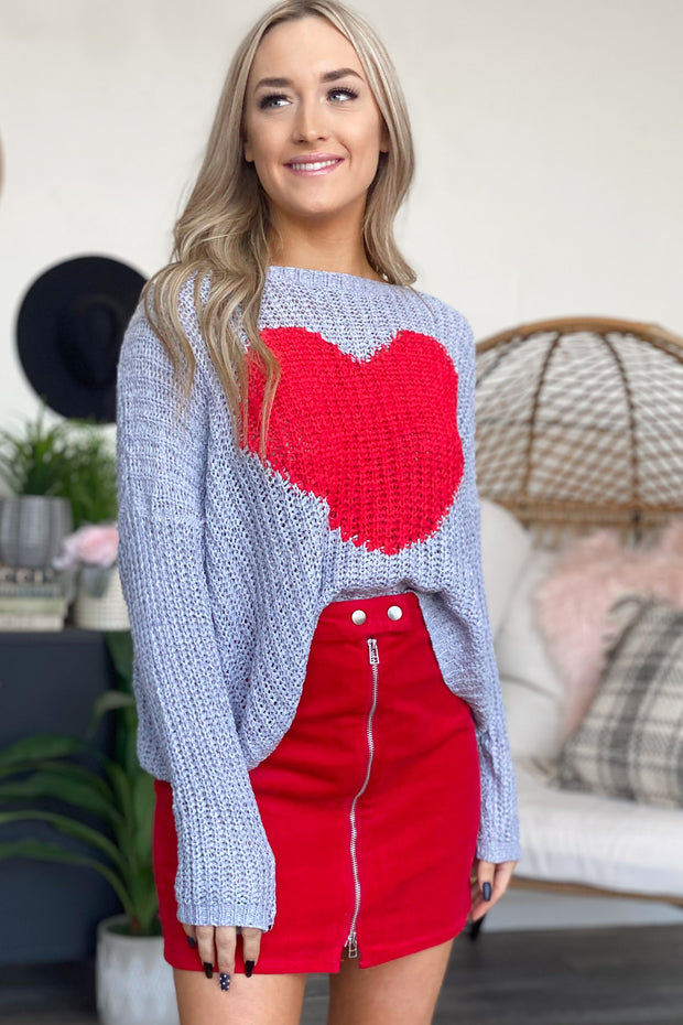Love you Lots Sweater: Grey - ShopSpoiled