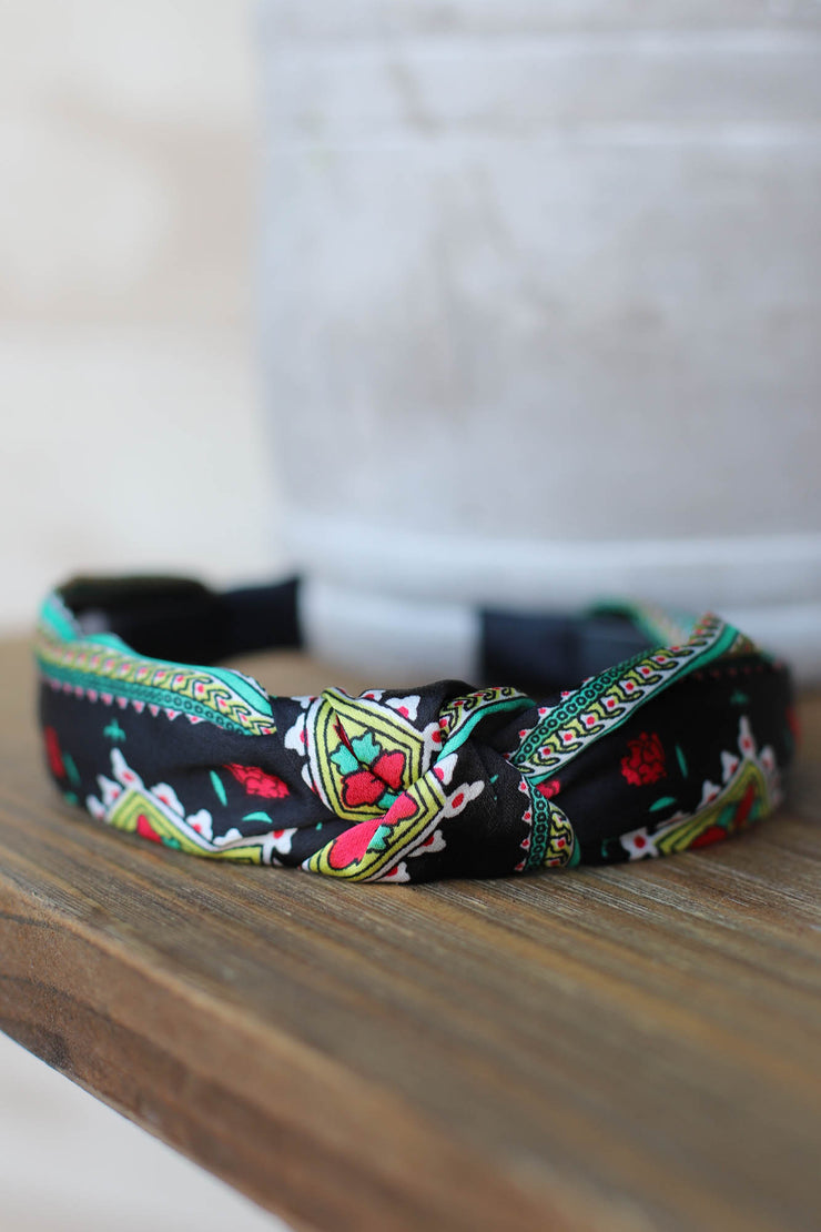 Leah Floral Headband: Black - ShopSpoiled