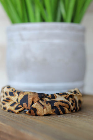 Jesse Leopard Headband: Brown - ShopSpoiled