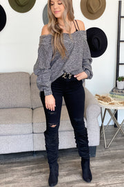 Crushing It Sweater: Gray - ShopSpoiled
