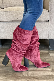 Lottery Boots: Burgundy Velvet - ShopSpoiled