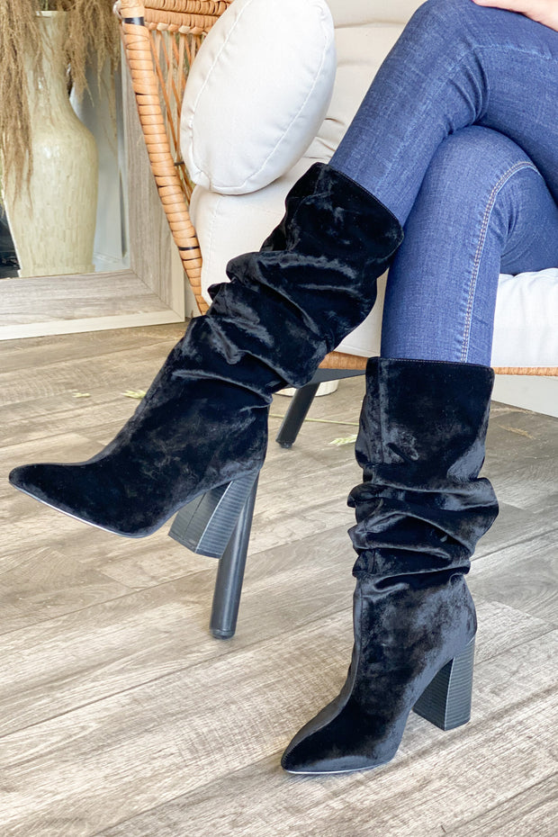 Lottery Boots: Black Velvet - ShopSpoiled