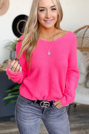 Twisted Heart Sweater: Neon Pink - ShopSpoiled