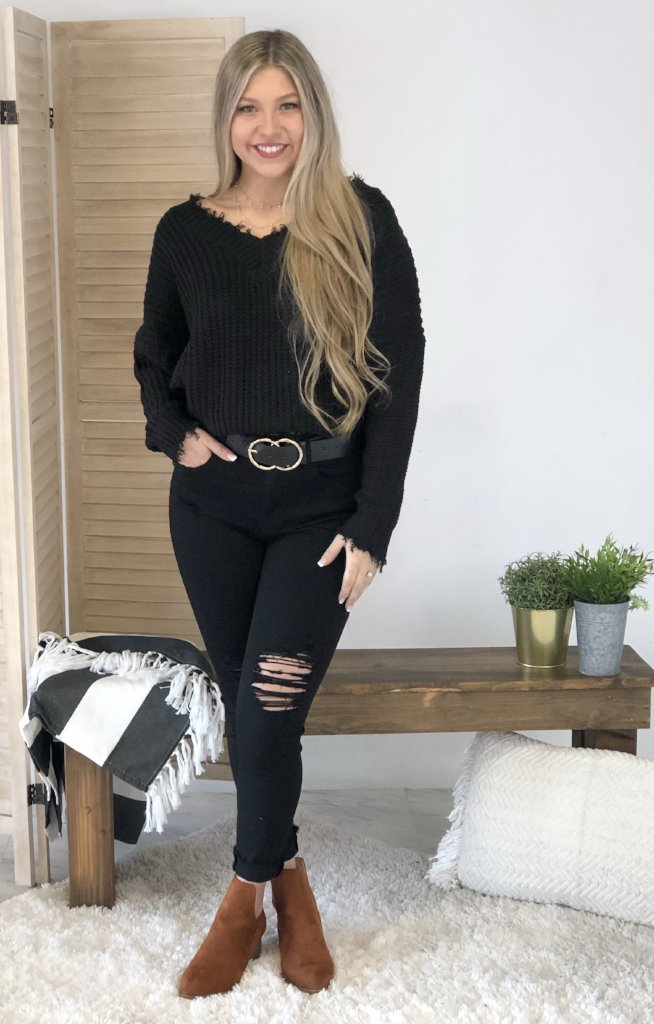 Last Go Around Sweater: Black - ShopSpoiled