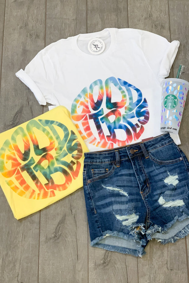 Good Vibes & Tie Dye tee: Yellow - ShopSpoiled