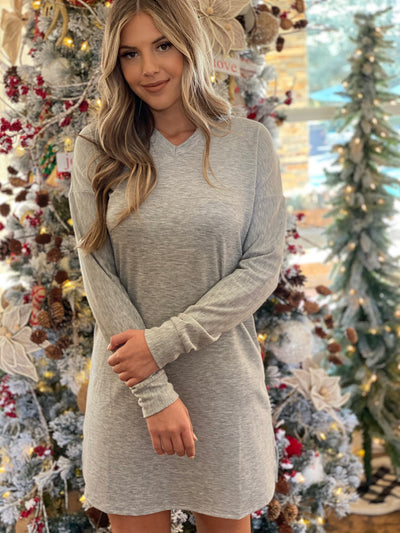 Truly Tempting Hoodie Dress: Grey - ShopSpoiled