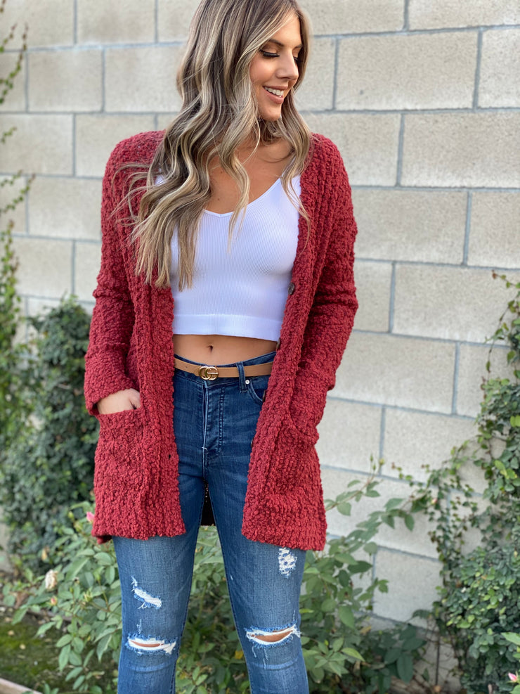 Keep It Cool Cardigan: Rust - ShopSpoiled