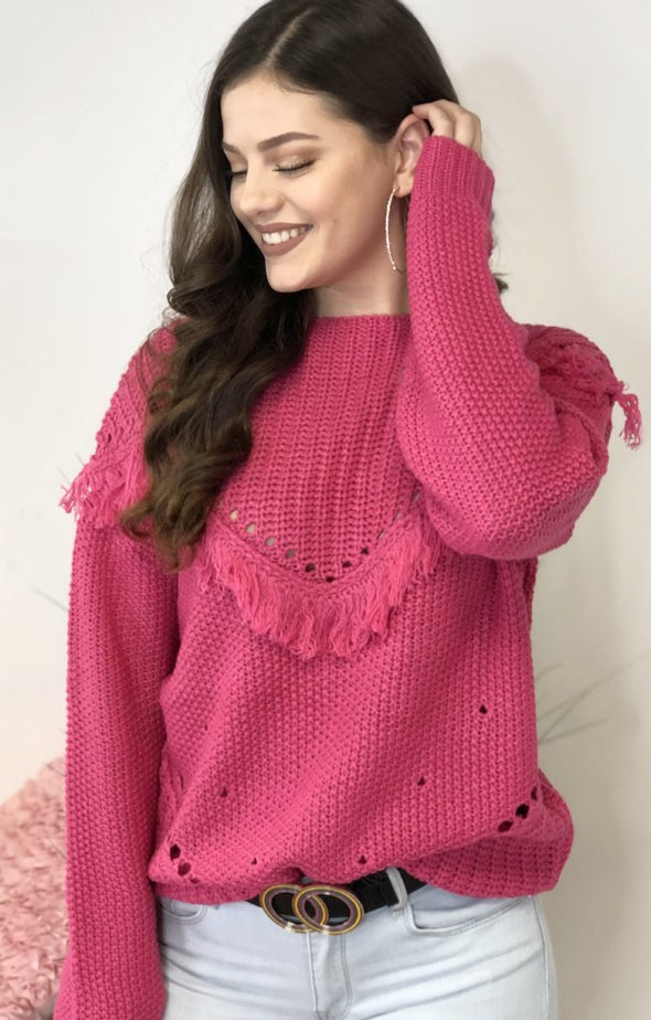 Moon And Back Sweater: Hot Pink - ShopSpoiled