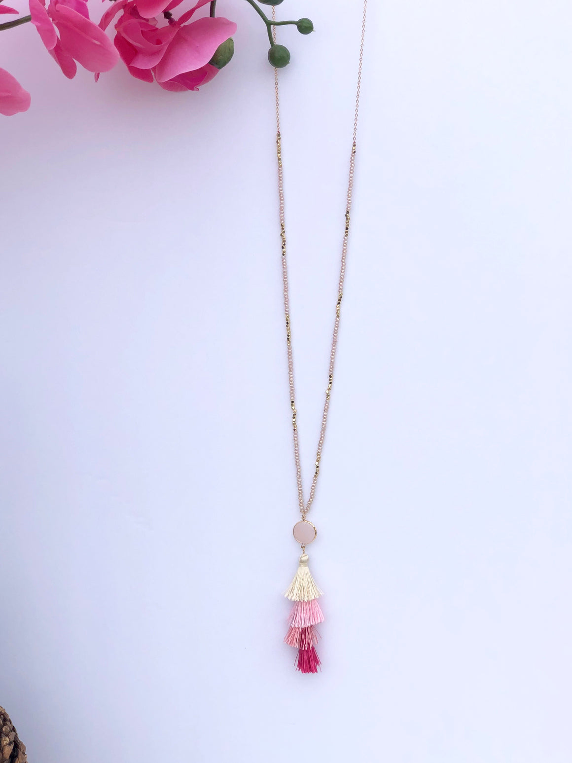 No Hassles Tassel Necklace: Pink - ShopSpoiled