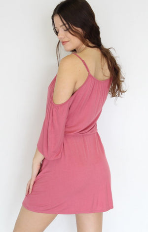 Cold Shoulder Dress: Mauve - ShopSpoiled