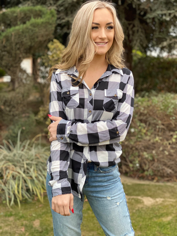 Gone Camping Flannel Top: White - Shop Spoiled Boutique