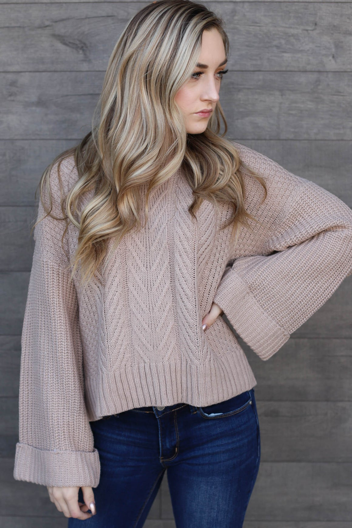 Bailee Sweater: Taupe - ShopSpoiled