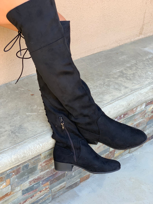 Barbra Lace Up Boots: Black Suede - ShopSpoiled