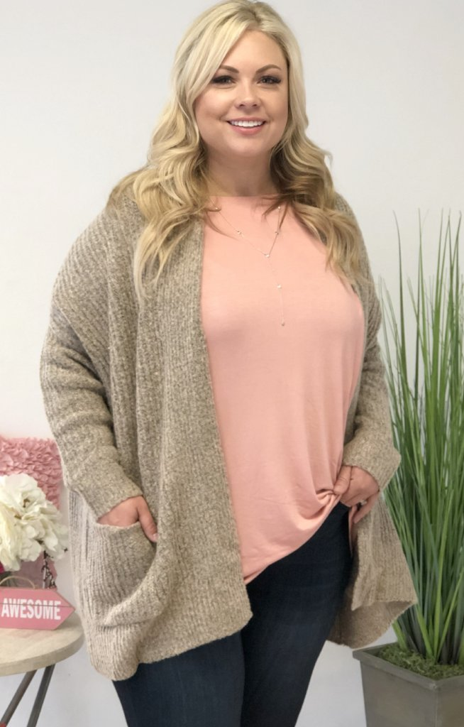 In The Mix SR Xtra Cardigan: Taupe - ShopSpoiled