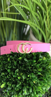 Small CC Fashion Belt: Pink/Gold - ShopSpoiled
