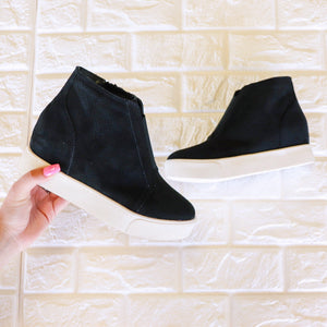 Casual Crush Wedge Sneakers : Black - ShopSpoiled