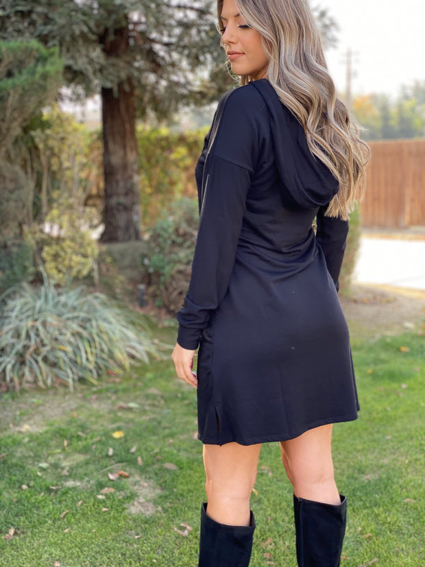 Truly Tempting Hoodie Dress: Black - ShopSpoiled