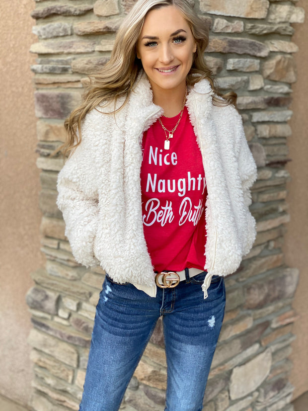 Naughty, Nice, Beth Dutton Tee: Red - ShopSpoiled