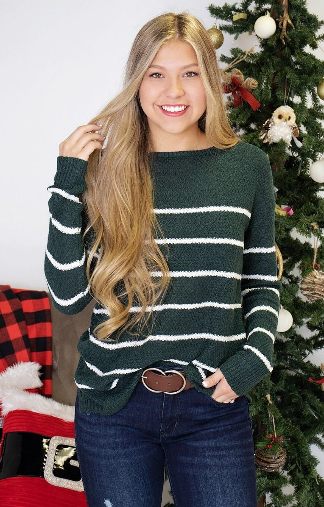 Deanna Sweater: Hunter Green - ShopSpoiled
