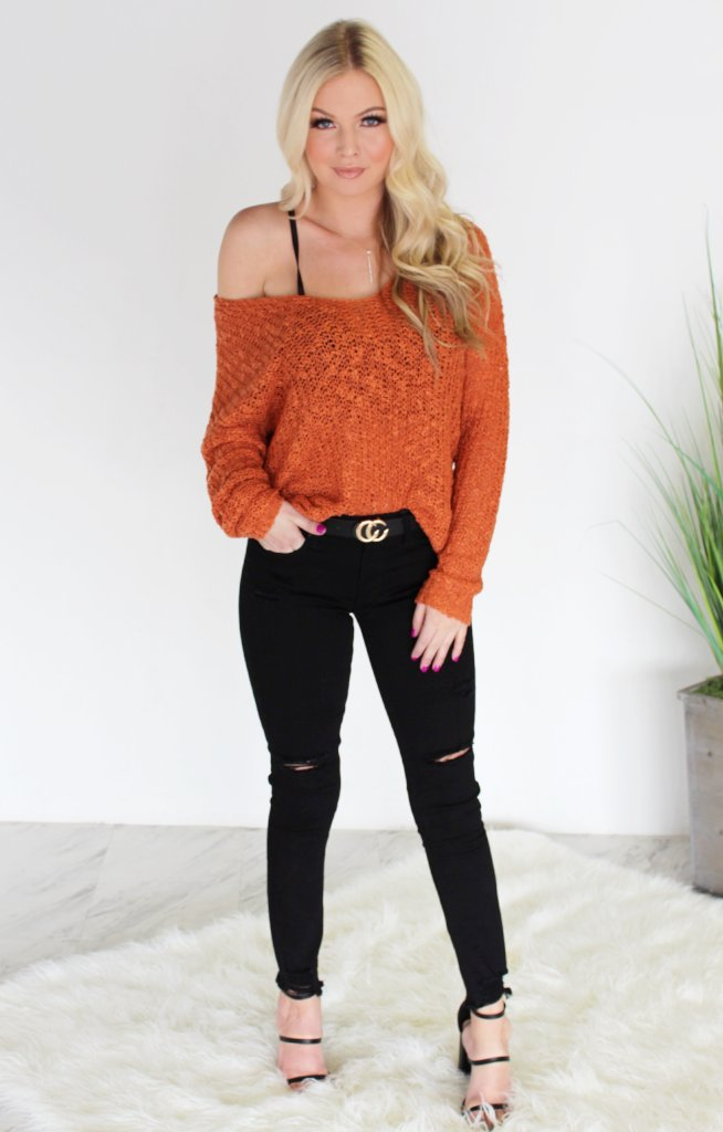 The Way You Love Me Sweater: Rust - ShopSpoiled