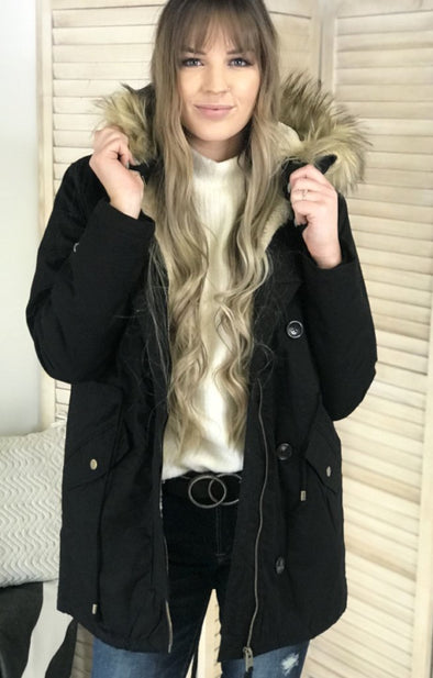 Long Eskimo Kisses Coat: Black - ShopSpoiled