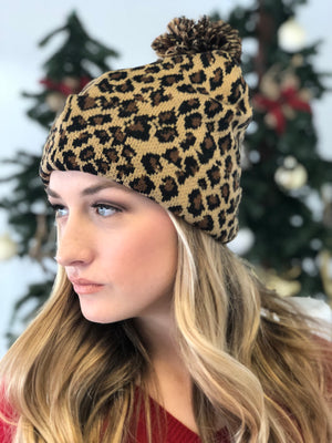 Leopard Beanie with Puff - ShopSpoiled