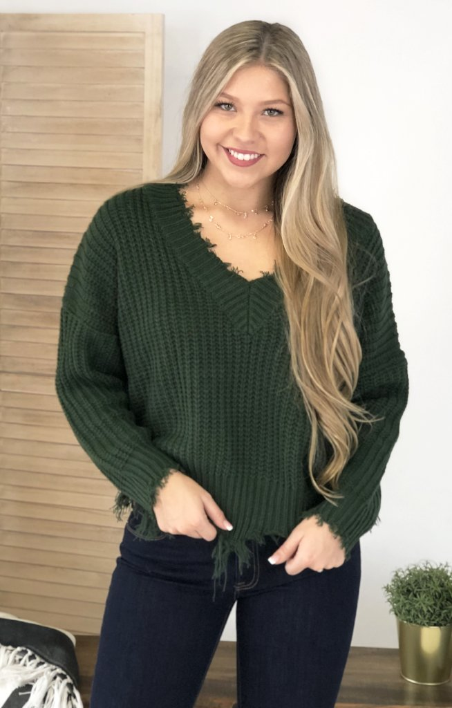 Last Go Around Sweater: Hunter Green - ShopSpoiled