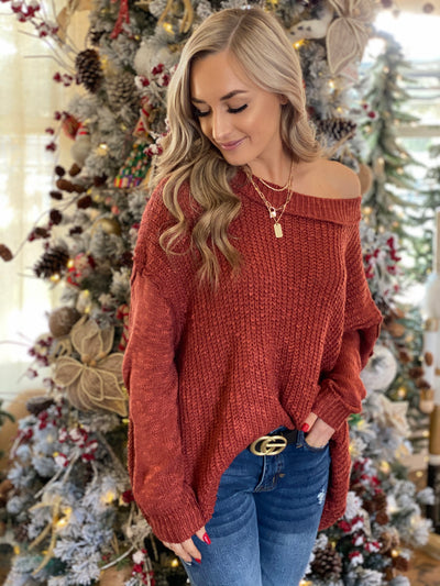New Year Toast Sweater: Rust - ShopSpoiled
