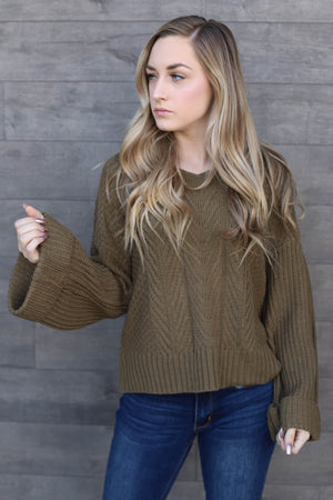 Bailee Sweater: Olive - ShopSpoiled