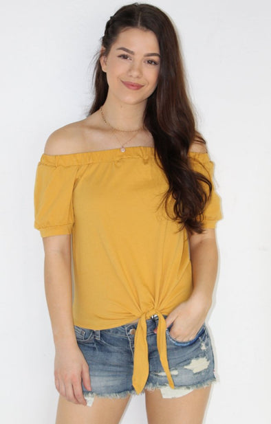 Madison Off The Shoulder Top: Mustard - ShopSpoiled