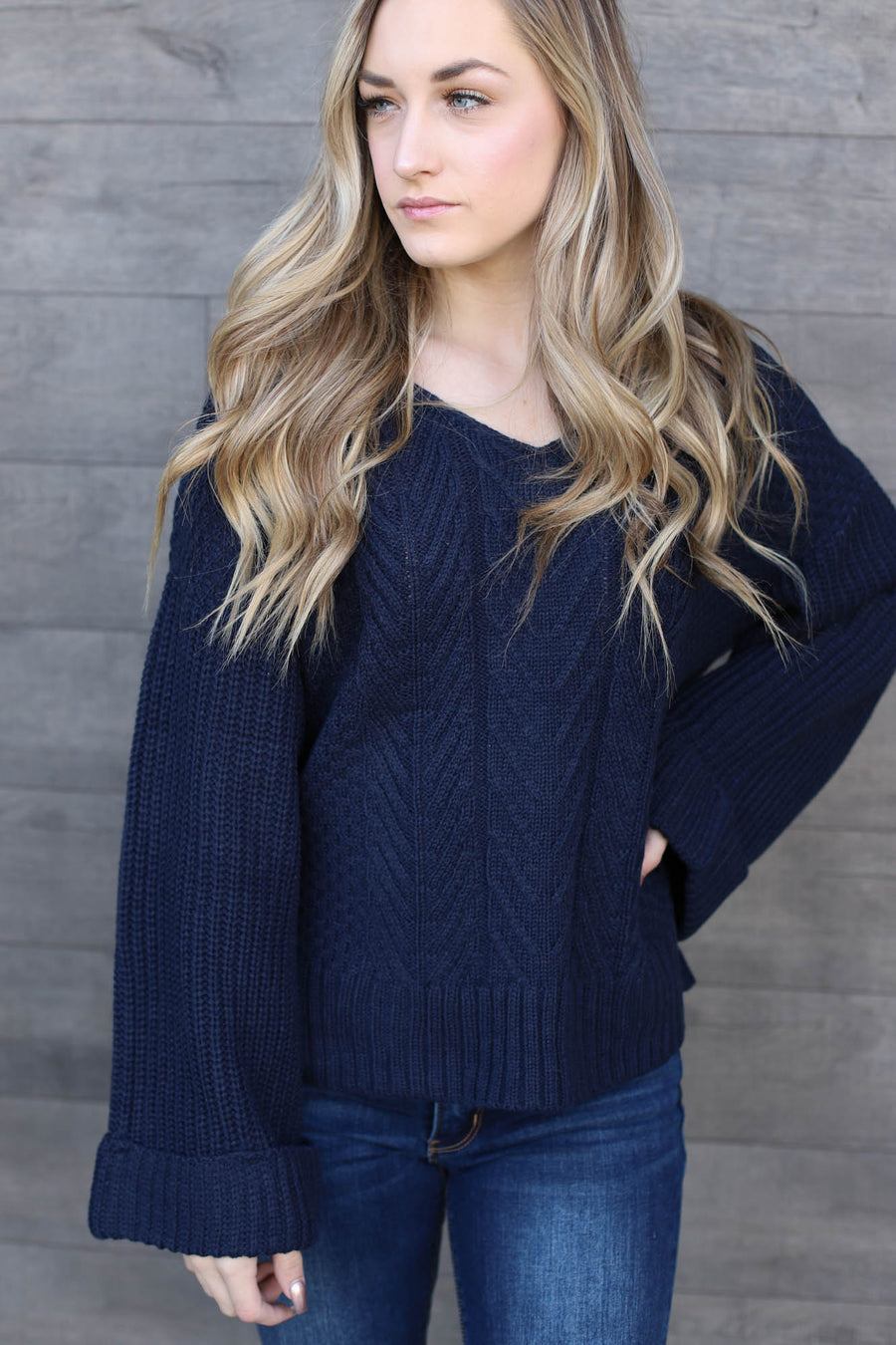 Bailee Sweater: Navy - ShopSpoiled