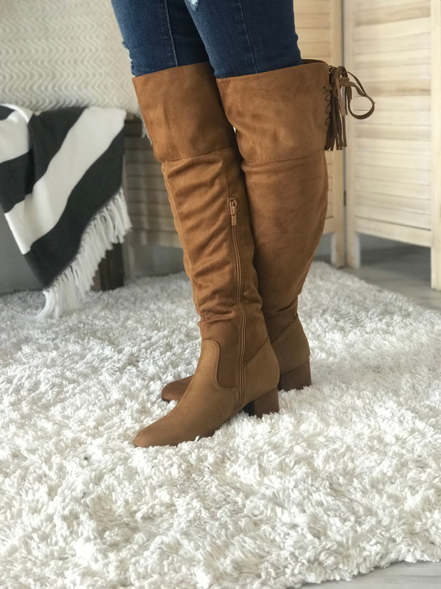 Brooklyn Suede Boots: Tan - ShopSpoiled