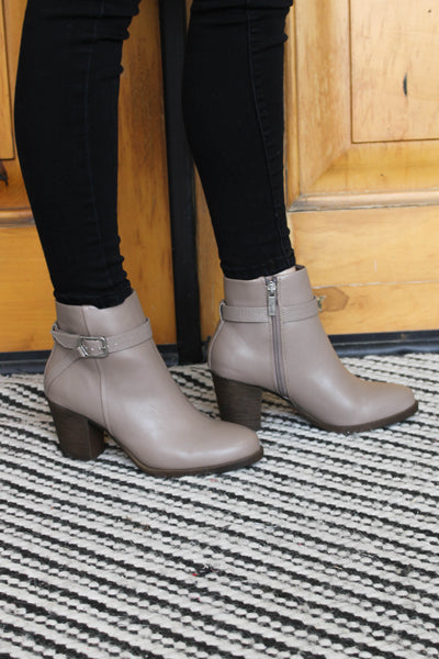 Jaz Booties: Taupe - ShopSpoiled
