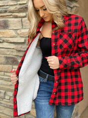 Check Me Sherpa lined Flannel Jacket - ShopSpoiled