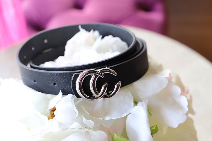 MINI CC FASHION BELT BLK/SLV - ShopSpoiled
