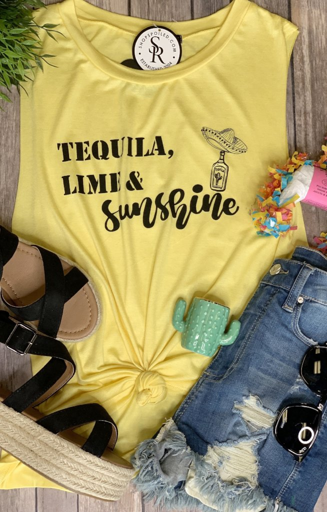 f576ff11 Tequila and Lime Muscle Tee Tank: Yellow | Shop Spoiled Boutique