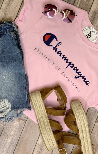 Champagne Graphic Tee: Pink - ShopSpoiled