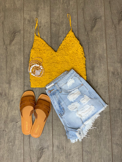 Free & Fearless Crop Top: Yellow - ShopSpoiled